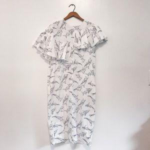 ASOS Geometric Shark Print Ruffle midi dress